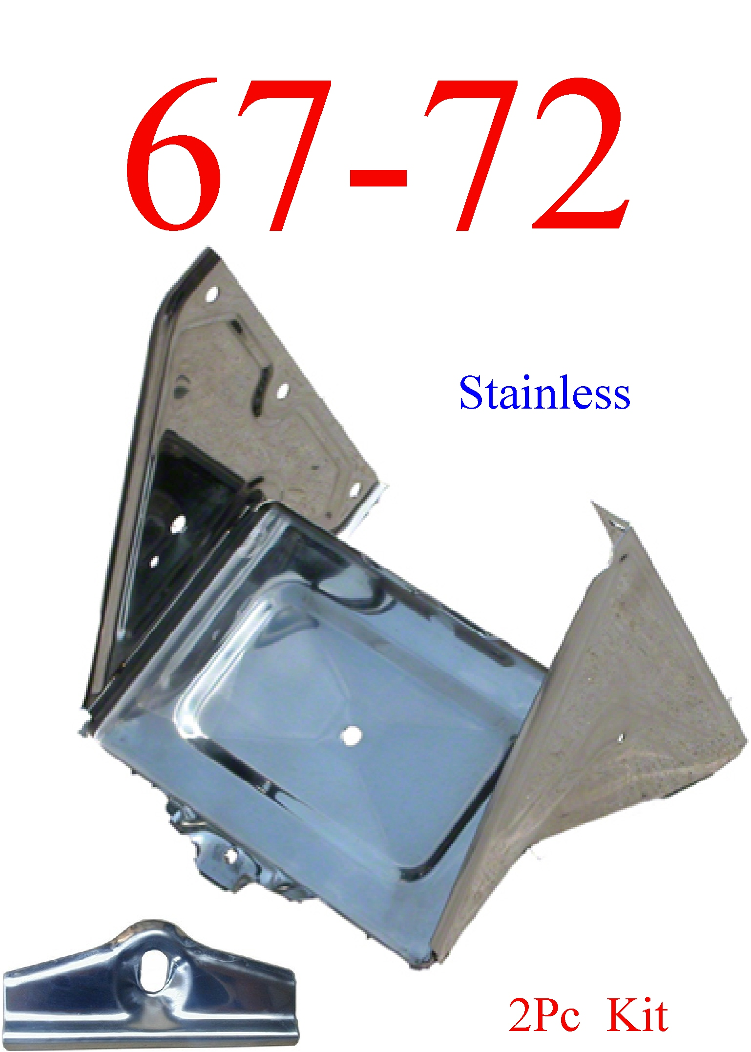 67-72 2Pc Stainless Chevy Battery Tray Assembly & Hold Down